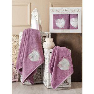 Набор из 2 полотенец Sikel Simli kalp бамбук с вышивкой (50x90/70x140) (9002 фиолетовый) sikel набор из 2 полотенец nazande цвет коричневый