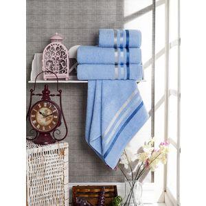 Набор из 4 полотенец Vevien Ekonomik (50х90-2/70х140) (8286 голубой) набор из 3 полотенец merzuka sakura 50х90 2 70х140 8432 оранжевый