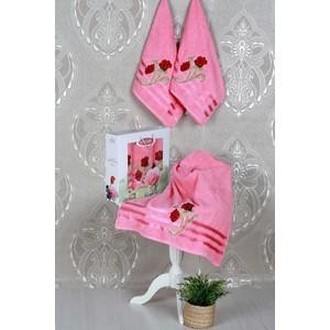 Набор из 3 полотенец Vevien Gul с вышивкой (50х90-2/70х140) (8807 розовый)
