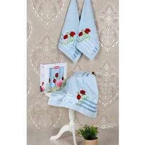 Набор из 3 полотенец Vevien Gul с вышивкой (50х90-2/70х140) (8807 светло-голубой)