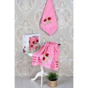Набор из 3 полотенец Vevien Gul с вышивкой (50х90-2/70х140) (8807 светло-розовый)