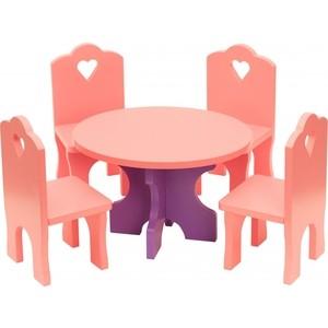 Набор кукольной мебели Краснокамская игрушка Столик с четырьмя стульчиками (КМ-03)