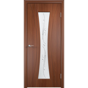 Дверь VERDA Богемия остекленная 2000х900 ПВХ Итальянский орех