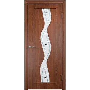 Дверь VERDA Вираж остекленная 2000х900 ПВХ Итальянский орех дверь verda каролина глухая 2000х900 шпон дуб