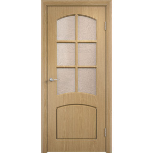 Дверь VERDA Кэрол остекленная 1900х600 ПВХ Дуб уголок пвх rico moulding 20х20х2700мм дуб коньячный