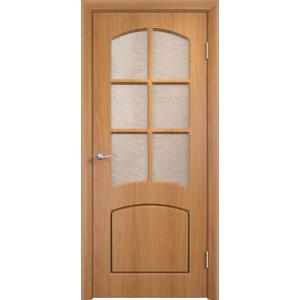Дверь VERDA Кэрол остекленная 1900х600 ПВХ Миланский орех дверь verda кэрол остекленная 2000х600 пвх миланский орех