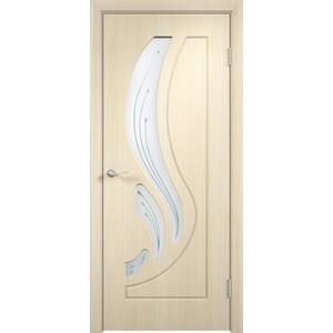 Дверь VERDA Лиана остекленная 2000х600 ПВХ Дуб белёный дверь verda омега глухая 2000х600 пвх дуб белёный