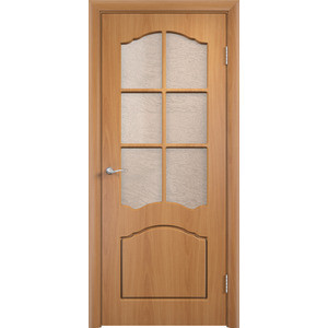 Дверь VERDA Лидия остекленная 1900х600 ПВХ Миланский орех дверь verda лидия глухая 1900х600 пвх миланский орех