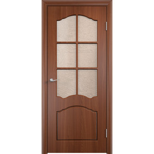 Дверь VERDA Лидия остекленная 2000х900 ПВХ Итальянский орех дверь verda каролина глухая 2000х900 шпон дуб