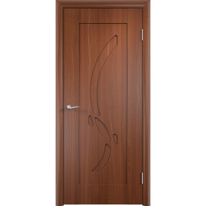 Дверь VERDA Милена глухая 1900х600 ПВХ Итальянский орех дверь verda каролина глухая 2000х900 шпон дуб