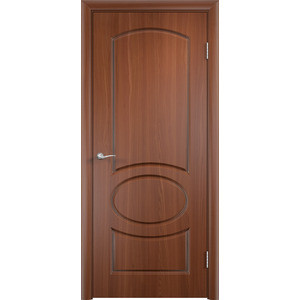 Дверь VERDA Неаполь глухая 2000х600 ПВХ Итальянский орех дверь verda каролина глухая 2000х900 шпон дуб