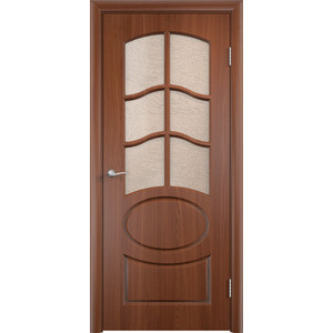 Дверь VERDA Неаполь 2 остекленная 2000х600 ПВХ Итальянский орех дверь verda неаполь 2 остекленная 1900х550 пвх итальянский орех