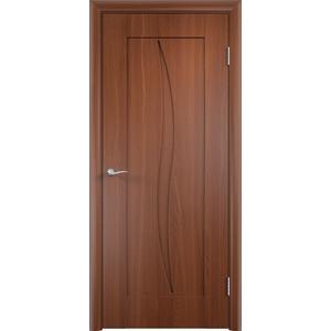 Дверь VERDA Стефани глухая 2000х600 ПВХ Итальянский орех дверь verda каролина глухая 2000х900 шпон дуб
