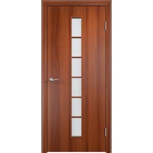 Дверь VERDA Тип С-12(о) остекленная 1900х600 МДФ финиш-пленка Итальянский орех дверь verda тип с 10 ф остекленная 1900х600 мдф финиш пленка итальянский орех