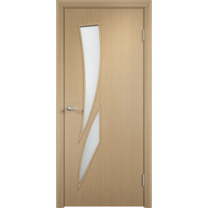 Дверь VERDA Тип С-2(о) остекленная 1900х550 МДФ финиш-пленка Дуб белёный левая пленка