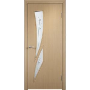 Дверь VERDA Тип С-2(Ф) остекленная 1900х600 МДФ финиш-пленка Дуб белёный пленка