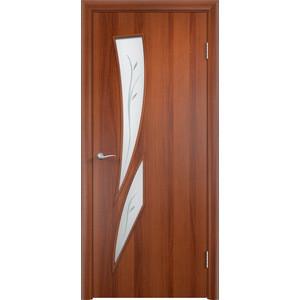 Дверь VERDA Тип С-2(Ф) остекленная 2000х800 МДФ финиш-пленка Итальянский орех дверь verda кэрол остекленная 2000х800 пвх миланский орех