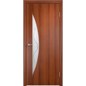 Дверь VERDA Тип С-6(Ф) остекленная 1900х600 МДФ финиш-пленка Итальянский орех дверь verda тип с 10 ф остекленная 1900х600 мдф финиш пленка итальянский орех