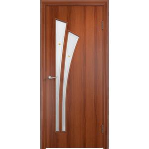 Дверь VERDA Тип С-7(Ф) остекленная 1900х600 МДФ финиш-пленка Итальянский орех дверь verda тип с 10 ф остекленная 1900х600 мдф финиш пленка итальянский орех