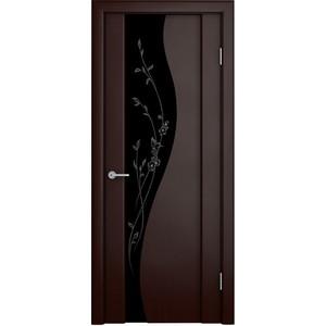 Дверь VERDA Ирис остекленная 2000х900 шпон Венге темный