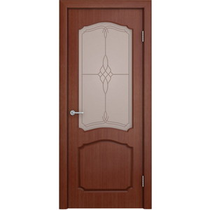 Дверь VERDA Каролина остекленная 2000х700 шпон Макоре дверь verda каролина глухая 1900х550 шпон макоре