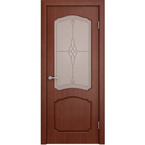 Дверь VERDA Каролина остекленная 2000х900 шпон Макоре дверь verda лидия глухая фрезерованная 2000х900 шпон макоре