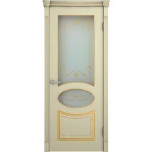 Дверь VERDA Фламенко остекленная 2000х600 эмаль Слоновая кость с золотой патиной