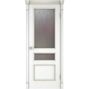 Дверь VERDA Шервуд 3 остекленная 2000х600 шпон Снежный дуб дверь verda каролина глухая 2000х900 шпон дуб