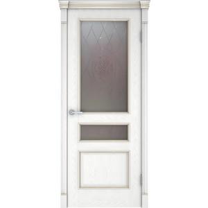 Дверь VERDA Шервуд 3 остекленная 2000х700 шпон Снежный дуб дверь verda каролина глухая 2000х900 шпон дуб