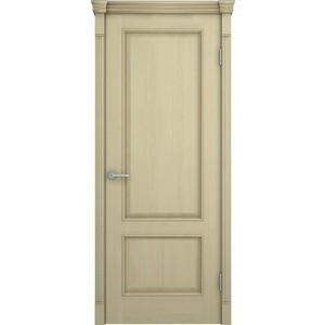 Дверь VERDA Шервуд глухая 1900х550 шпон Дуб слоновая кость золотая патина на багете дверь verda каролина глухая 1900х550 шпон макоре