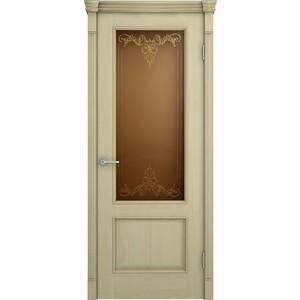 Дверь VERDA Шервуд остекленная 2000х800 шпон Дуб слоновая кость золотая патина на багете