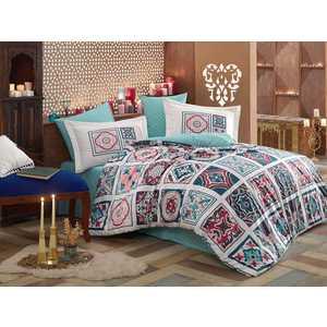 Комплект постельного белья Hobby home collection Евро, поплин, Mozaique, голубой (1607000137)