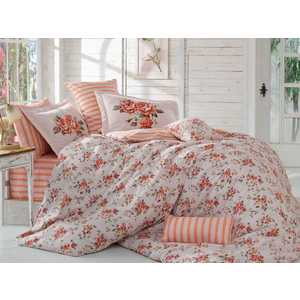 Комплект постельного белья Hobby home collection Евро, поплин, Flora, персиковый (1501001118) цена