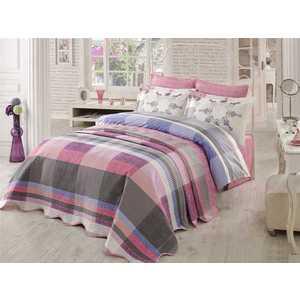 где купить Комплект постельного белья Hobby home collection Евро, поплин, Alanza, лиловый (1501000919) по лучшей цене