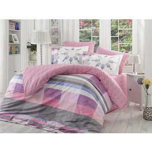 где купить Комплект постельного белья Hobby home collection Семейный, поплин, Alanza, лиловый (1501000968) по лучшей цене