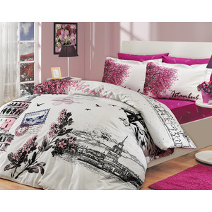 Комплект постельного белья Hobby home collection Евро, поплин, Istanbul Panaroma, розовый (1501000113) комплект постельного белья hobby home collection семейный поплин juillet кремовый 1501000125