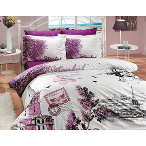 Комплект постельного белья Hobby home collection Евро, поплин, Istanbul Panaroma, фиолетовый (1501000110)