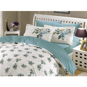 где купить  Комплект постельного белья Hobby home collection Евро, поплин, Paris Spring, бирюзовый (1501000148)  по лучшей цене