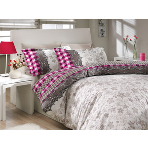 где купить Комплект постельного белья Hobby home collection Евро, поплин, Serena, фиолетовый (1501000169) по лучшей цене
