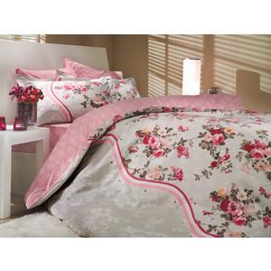 все цены на  Комплект постельного белья Hobby home collection Евро, поплин, Susana, розовый (1501000178)  в интернете