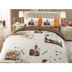 Комплект постельного белья Hobby home collection 2-х сп, ранфорс, Istanbul, коричневый (1501000659)