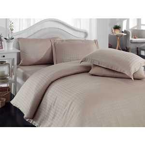 где купить Комплект постельного белья Hobby home collection Евро, бамбук, Diamond Houndstooth, бежевый (000050BO00102) по лучшей цене