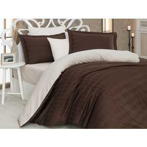 Комплект постельного белья Hobby home collection Евро, сатин, Bulut, коричнево-кремовый (1607000009)