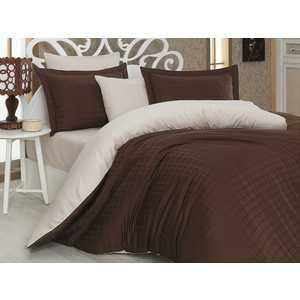 где купить Комплект постельного белья Hobby home collection Евро, сатин, Ekose, коричнево-кремовый (1607000040) по лучшей цене