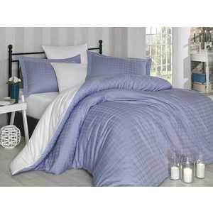 все цены на Комплект постельного белья Hobby home collection Евро, сатин, Ekose, лилово-белый (1607000042)