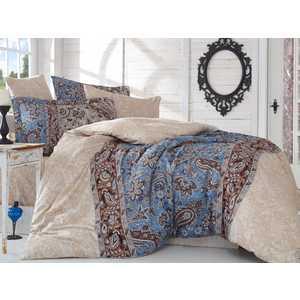 где купить Комплект постельного белья Hobby home collection Семейный, сатин, Caterina, коричневый (1501001148) по лучшей цене