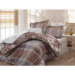 где купить Комплект постельного белья Hobby home collection Семейный, сатин, Monica, коричневый (1501001151) по лучшей цене