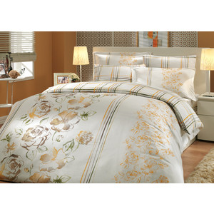 где купить Комплект постельного белья Hobby home collection Семейный, сатин, Arabella, коричневый (1501000297) по лучшей цене