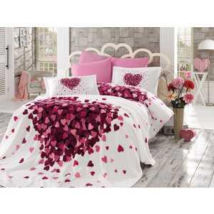 Набор для спальни Hobby home collection Juana покрывало +КПБ Евро поплин лиловый (1501001069) цена