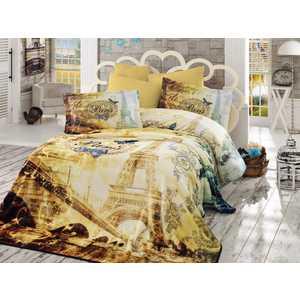 Набор для спальни Hobby home collection Vivaldi покрывало +КПБ Евро поплин золотой (1607000127)
